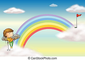 An angel playing golf near the rainbow - Illustration of an...