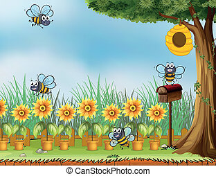 Four bees in the garden - Illustration of four bees in the...