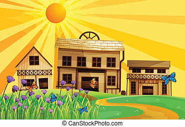 Three different house designs - Illustration of three...