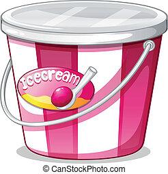 An ice cream bucket - Illustration of an ice cream bucket on...