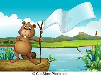 A beaver holding a wood with an empty banner - Illustration...