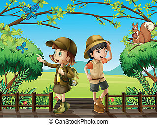 A girl and a boy at the wooden bridge - Illustration of a...