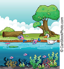 Sea creatures with a duck - Illustration of sea creatures...