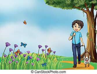 A young boy walking with his pet - Illustration of a young...