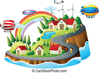 A view of the village with kids - Illustration of a village...