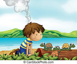A boy watching the three turtles - Illustration of a boy...
