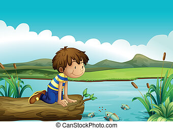 A young boy watching the fishes - Illustration of a young...