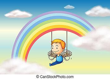 An angel near the rainbow