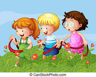Kids at the garden - Illustration of kids at the garden