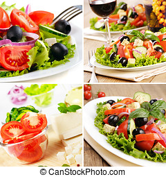 Greek salad set - Greek salad and glass of red wine on the...