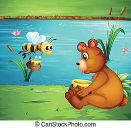 A bear and a bee at the riverbank - Illustration of a bear...