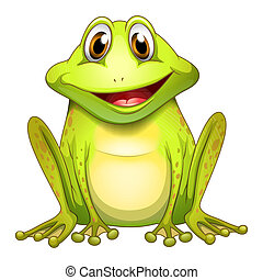 A smiling frog - Illustration of a smiling frog on a white...