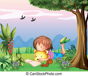 A girl reading at the park - Illustration of a girl reading...