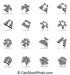 Design elements set. 16 abstract graphic icons. Vector art.