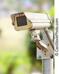 Security camera - Closeup image of CCTV security camera at...