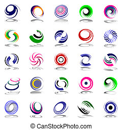 Spiral movement and rotation Design elements set Vector art...