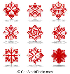 Octagonal patterns set. - Design elements set. Octagonal...