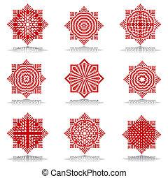 Octagonal patterns set. - Design elements set. Octagonal...