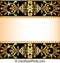 background with precious stones and decorated band for posts