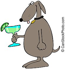 Dog holding a Margarita - This illustration depicts a brown...