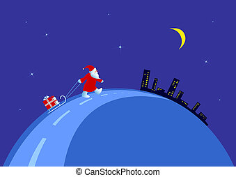 Santa on the night of Christmas.