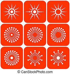 Abstract sun icons Design elements set Vector art
