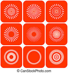 Abstract sun icons. Design elements. Vector art.
