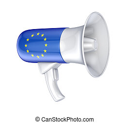 Loudspeaker with EU flag.Isolated on white background.3d...