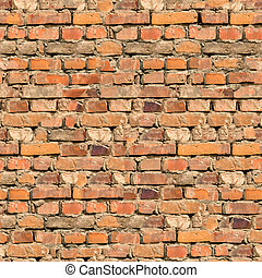 Background of Brick Wall Texture - Cracked Brown Brick Wall...