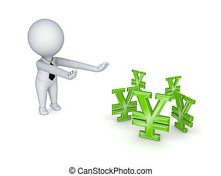3d small people pulling hands to symbol of yen.