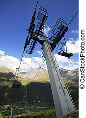 Chairlift on a montain in the alps
