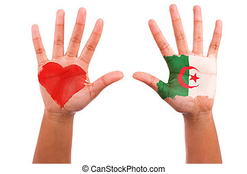 African hands with a painted heart and algerian flag, i love...