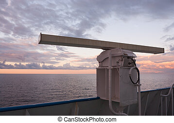 Ship's radar in the sunset