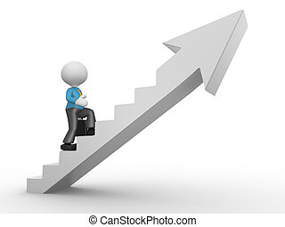 Businessman - 3d people - man, person climbing stairs and an...