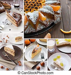 Cake composition - Many variety of cake with fruit, nuts and...