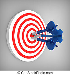 Darts hit accurate on the target - 3D model of darts hit...
