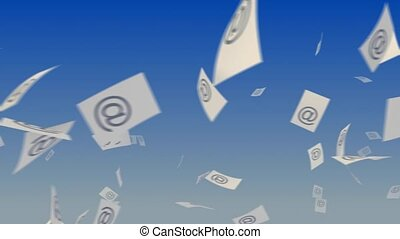 "Transferring messages. - Flying paper documents with ""at""..."