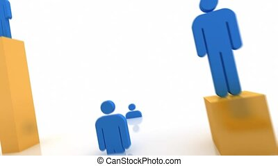 Human Resources. - Rising blue people standing on yellow...
