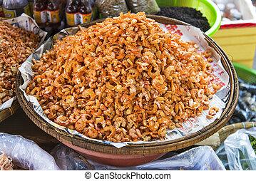 secado, camarão, kep, mercado, cambodia