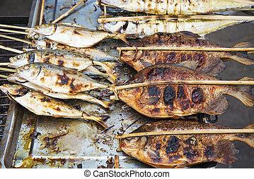 grelhados, peixe, kep, mercado, cambodia