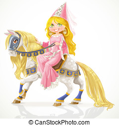 Beautiful princess on a white horse