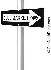Bull Market This Way - A conceptual one way road sign on...