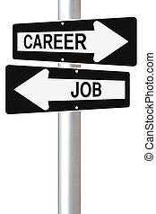 Job Or Career - Conceptual one way street signs on job and...