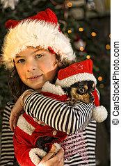 Christmas girl holding chihuahua - Christmas girl holding a...