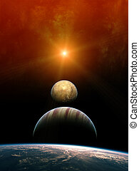 Planet Alignment with rising Sun