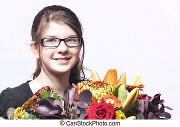 Girl with a bouquet