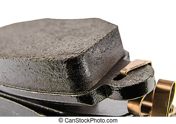 Brake pads seen close up