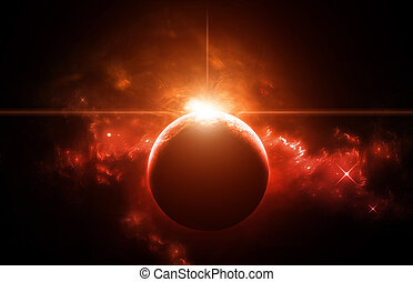 Planet with Red Star and nebula on background