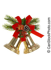 Handbells - Two handbells, red tape, branches of a fur-tree...