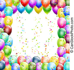 happy birthday balloons frame with confetti